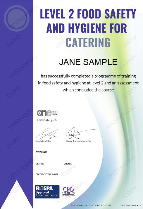 Final Certificate Level 2 Food Safety and Hygiene course certificate