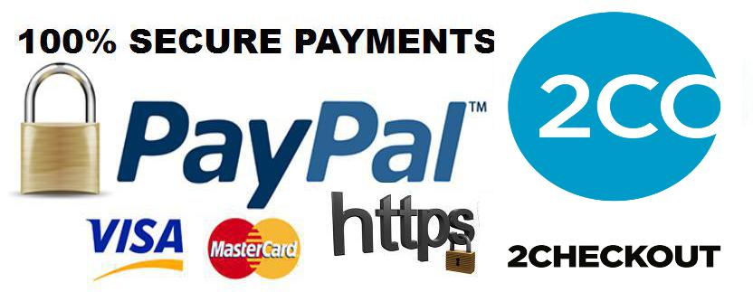 Secure Payments processed by 2Checkout and Paypal