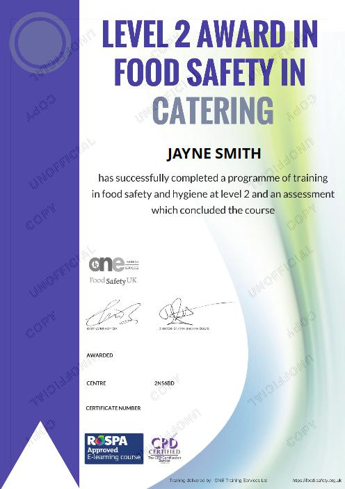 Level 2 Award in Food Safety in Catering certificate