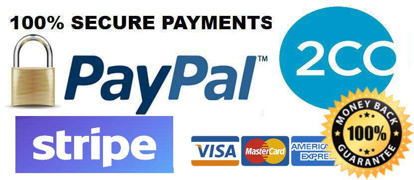 Secure Payments processed by Stripe and Paypal